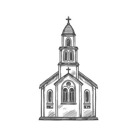 Christian church o chapel with crucifixion cross. Ilustración de vector
