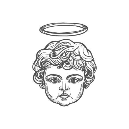 Christian angel child head with glory halo, religious icon. Vector Christianity Orthodox and Catholic religion symbol of angelic cherubim Vettoriali