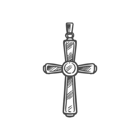 Cristian crucifixion cross, church religious symbol of easter and belief. Vector Christianity Orthodox and Catholic pectoral cross pendant