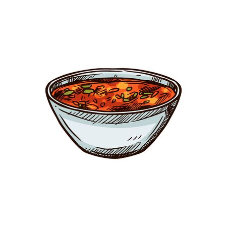 Mexican hot soup with beef isolated national cuisine food. Vector spicy tomato broth in bowl