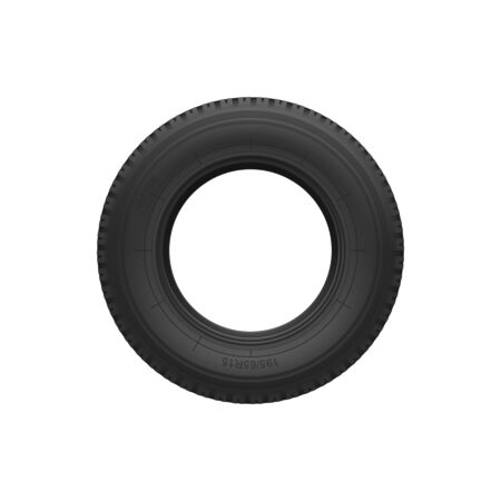Vehicle tyre isolated black rubber tire. Vector car spare part, round rim wheel protector