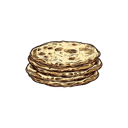 Stack of mexican tortillas isolated flatbread food. Vector flat corn bread, pastry snack