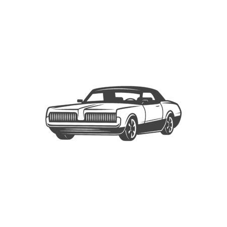 Retro car icon, classic vehicle coupe o cabriolet model vehicle.