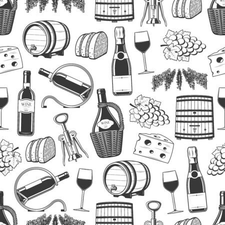 Wine seamless pattern, wine making and tasting icons. Vector background of winery wooden barrel, vintage grape vine harvest, champagne or sparkling wine with corkscrew, bread and cheese snacks pattern Vettoriali