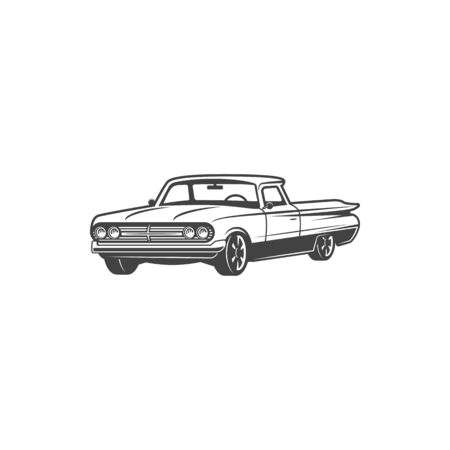 Retro car icon, cabriolet model vehicle. Vector isolated classic convertible car motor, vintage transport and cabrio automobiles Ilustrace