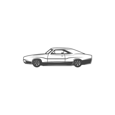 Retro car icon, coupe model vehicle.