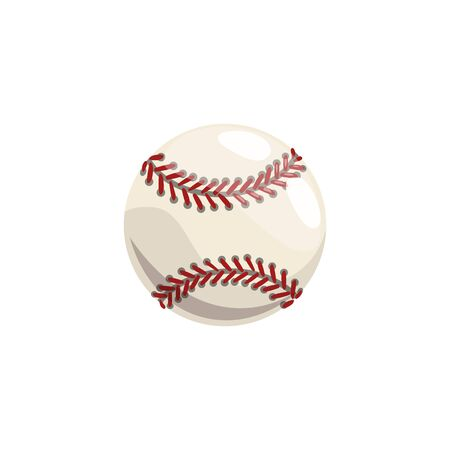 Baseball ball isolated softball equipment. Vector ball with laces and threads, hobby sport