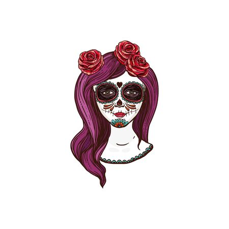Woman skull with long hair decorated by flowers isolated sketch.