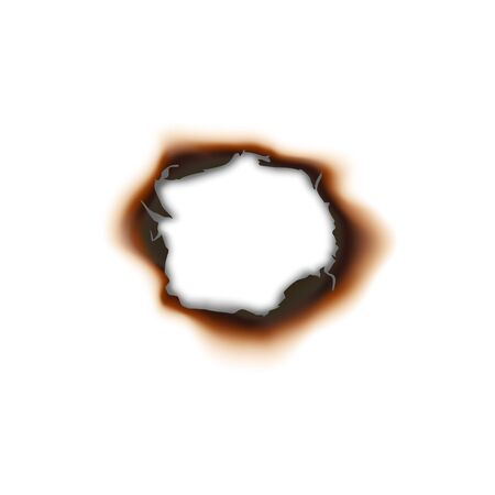 Paper sheet damaged by fire isolated burnt hole. Burnt hole in sheet of paper isolated damaged by fire surface.