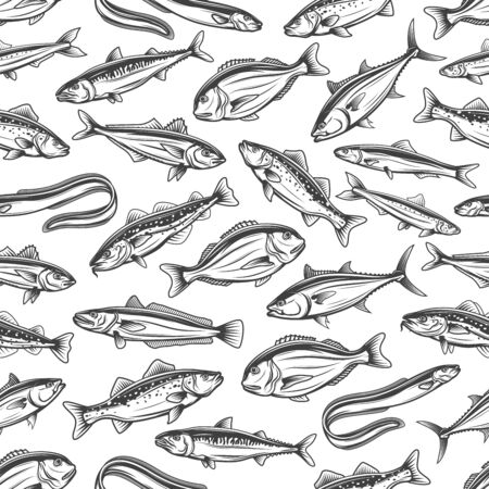 Fishes seamless pattern of ocean and sea fish catch. Çizim