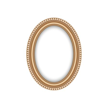 Oval antique frame isolated blank border.