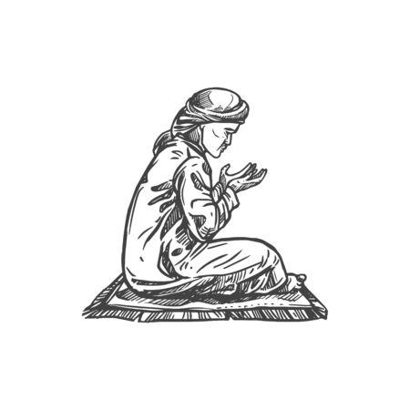 Man in hijab praying on carpet isolated muslim prayer sketch.