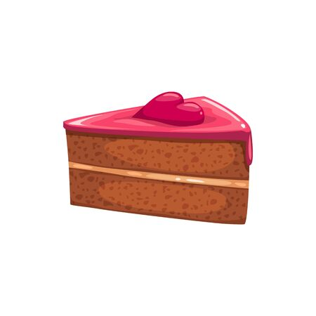 Piece of cake topped by heart isolated bakery. Vector baked food, chocolate dessert Illustration