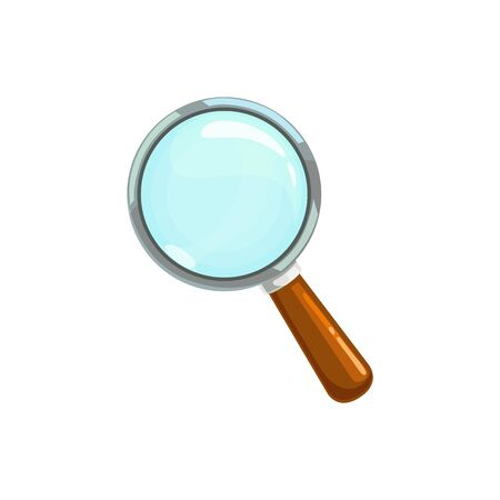 Magnifying glass with handle isolated zooming tool. Vector magnifier or loupe symbol