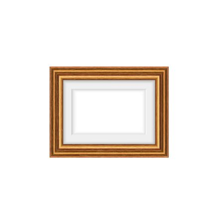 Vintage wooden photo frame isolated picture bordering. Vector photography or mirror framing Illustration