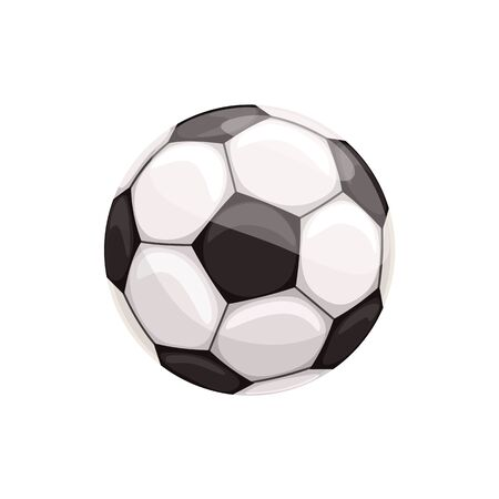 Soccer ball isolated football equipment. sport equipment, leather sphere with hexagons