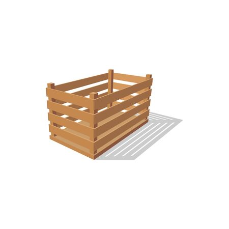 Crate of wooden planks isolated container. Vector drawer to store vegetables and harvest Vecteurs