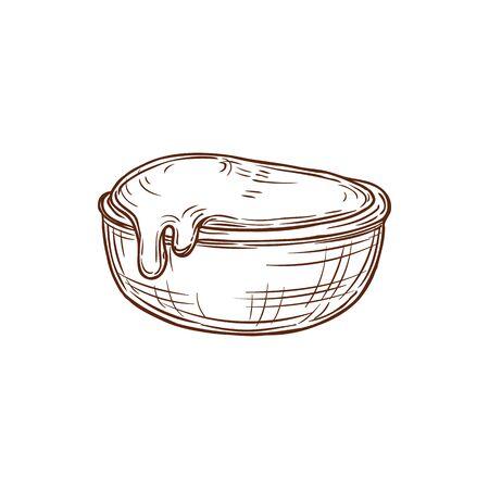 Wasabi, ketchup or mayonnaise in bowl isolated hand drawn sketch. Ilustración de vector