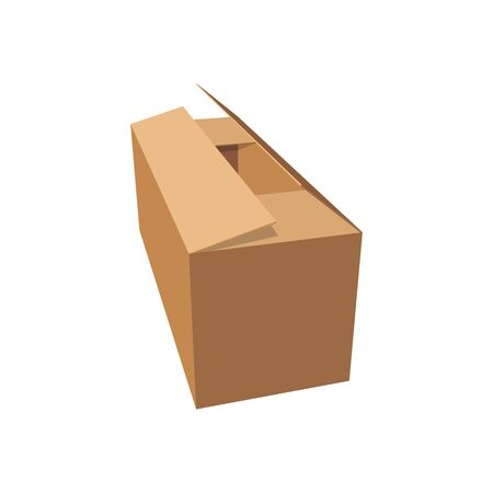 Carton box, delivery and transportation package isolated mockup. Vector cardboard pack, rectangular and square brown box mockup. Open and closed empty paper container, shipping packs icon