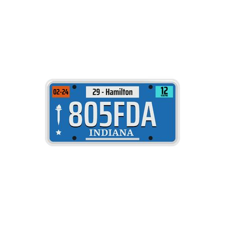 Car number or vehicle license plats vector design. Metal or plastic registration plate for identification of auto, trucks and motorcycles in USA state