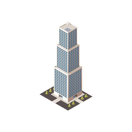 Modern business center, isolated fashionable building with shadow. Vector real estate houses in 3D isometric design, multi-stores skyscraper. City architecture, commercial tower with offices