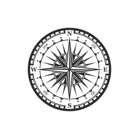 Old navigation compass heraldic icon. Vector Winds Rose symbol of nautical compass of marine and seafarer journey, ship sail navigator with direction arrow pointers to East, West or North and South Vecteurs