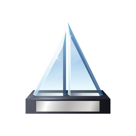 Glass trophy 3d vector template with award, prize and winner cup of sport competition and reminder gift of achievements. Crystal geometric figure on wooden base