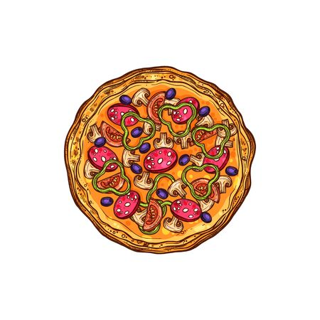 Pizza with vegetables, mushrooms and salami isolated sketch. Vector fastfood snack pepperoni with olives and tomatoes Vektoros illusztráció