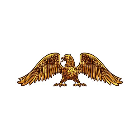 Eagle heraldic icon,  medieval style. Griffin with broad wings and sharp claws. Vector mythical or legendary bird with golden plumage, honorable hawk