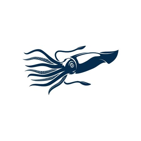 Squid isolated cephalopods marine animal. Vector hooked blue squid with suction tentacles