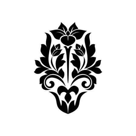 Floral scroll vector silhouette illustration. Black ink decorative filigree flower. Flourish calligraphic heraldic clipart. Baroque acanthus . Invitation vintage isolated decoration