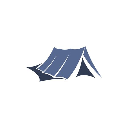 Camping and hiking tent icon, mountaineering sport and extreme tourism. Outdoor adventure cabin vector symbol. Portable waterproof dwelling, symbol of rock and mountain exploration