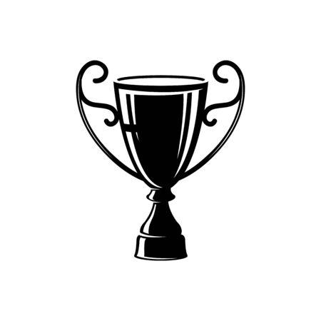 Trophy cup silhouette vector illustration. Competition award, contest trophy stencil black isolated clipart. Championship design idea. Winner, champion reward glyph emblem. Win, victory symbol Vecteurs