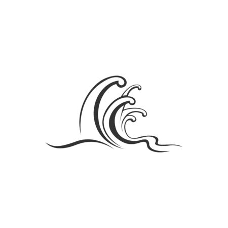 Wave icon with water swirl of sea or ocean. Black and white curls of water stream, ocean surf or sea storm with splashes and bubble foam for nature, marine travel or summer holiday themes design