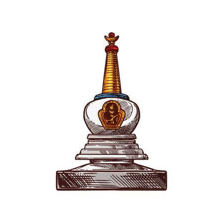 Buddhism religion symbol sketch of buddhist monk stupa. Ancient temple building with relics for monks meditation isolated icon. Asian religion and culture themes design