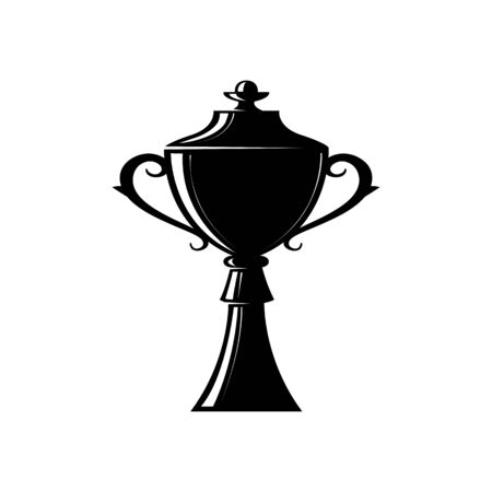 Championship cup silhouette vector illustration. Competition award, contest prize design. First place stencil black isolated clipart. Winner, champion reward glyph emblem. Win, victory symbol