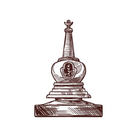 Buddhism religion symbol of buddhist monk stupa. Ancient temple building with relics for monks meditation isolated icon. Asian religion and culture themes design