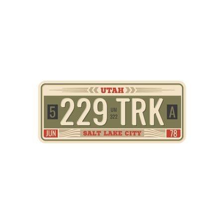 Car license retro card official number for vehicle registration in USA states. Metal sign board automobile plate with digits and letters, Nebraska and Alabama, Wichita and Texas, Colorado and Utah