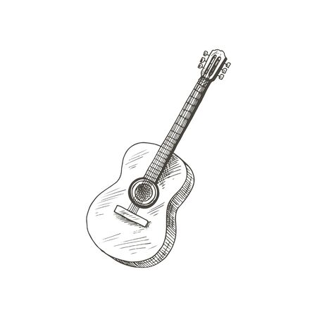 String guitar isolated vector musical instrument sketch. Vector stringed music tool, retro guitar