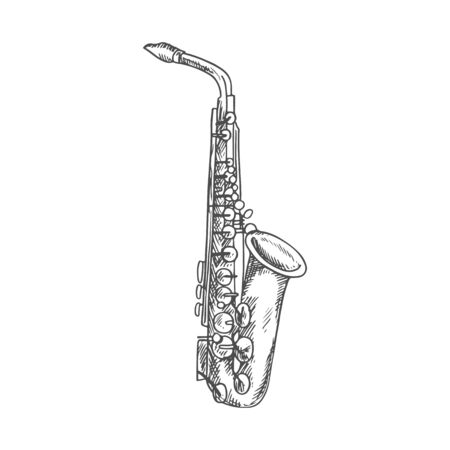 Clarinet or saxophone isolated musical instrument sketch. Vector woodwind sax or bass orchestra trumpet