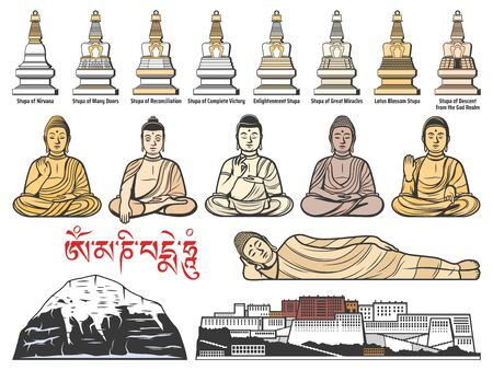 Tibet Buddhism religion, Tibetan Buddhist stupa shrines, Buddha meditatin postures. Potala Palace in Tibet and Mount Kailash. Tibet religious landmarks, symbols and famous architecture vector icons