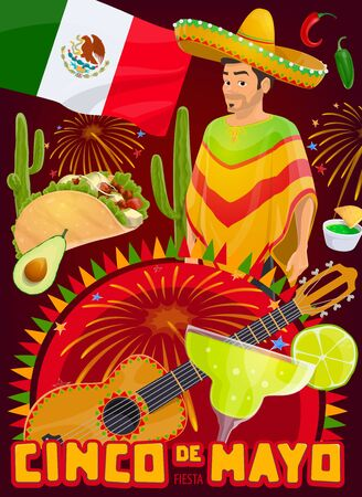 Cinco de Mayo Mexico holiday fiesta party vector design. Mexican sombrero hat, chili peppers, cactuses and Mexico flag, mariachi guitar, tequila margarita, taco and guacamole with festive bunting