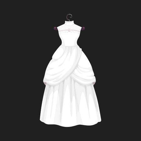 Wedding dress vector isolated icon. Vector Save the Date greeting, engagement and marriage party invitation or bride tailor salon symbol of white wedding dress model with bows and laces