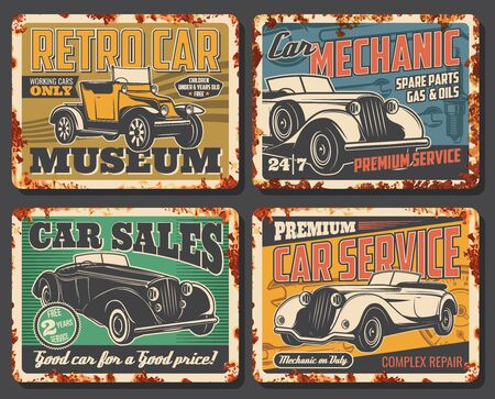 Retro vintage cars garage station and restoration rusty metal plates. Rarity and old vehicles museum, luxury limousine sale, spare parts shop and mechanic repair vector posters