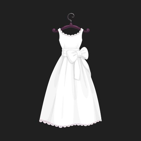 Wedding dress vector isolated icon. Vector Save the Date greeting, engagement and marriage party invitation or bride tailor salon symbol of white wedding dress model with bows and laces Vettoriali