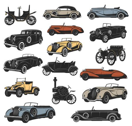 Antique and rarity vintage cars in vector, old vehicle models. Classic steam engine and mechanical wheel motors, rally sport cars, convertible coupe, cabriolet and roadster Vettoriali