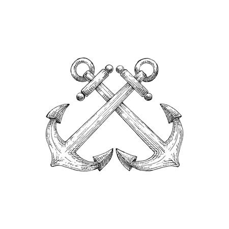 Ship anchor isolated nautical object mooring vessel to sea bottom. Vector maritime navigation crossed ankers