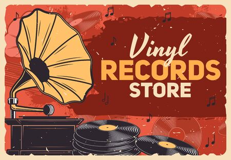 Music store, gramophone vinyl records and retro music shop vector grunge poster. Vintage vinyl record LP disks, gramophone and phonograph playing equipment and music notes Illustration