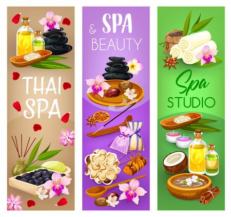 Spa salon, massage and beauty wellness vector banners. Oriental thai spa face and body care, massage hot stones, essential oils and towels, aromatherapy candles, soap and herbal therapy treatments