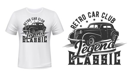 Racing sport and retro vehicle club, vintage car t-shirt mockup print vector design. Classic muscle vehicle or hot rod car badge of custom apparel with classic legend lettering